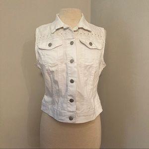 *2/15* Jessica Simpson White Jean Collared Vest L